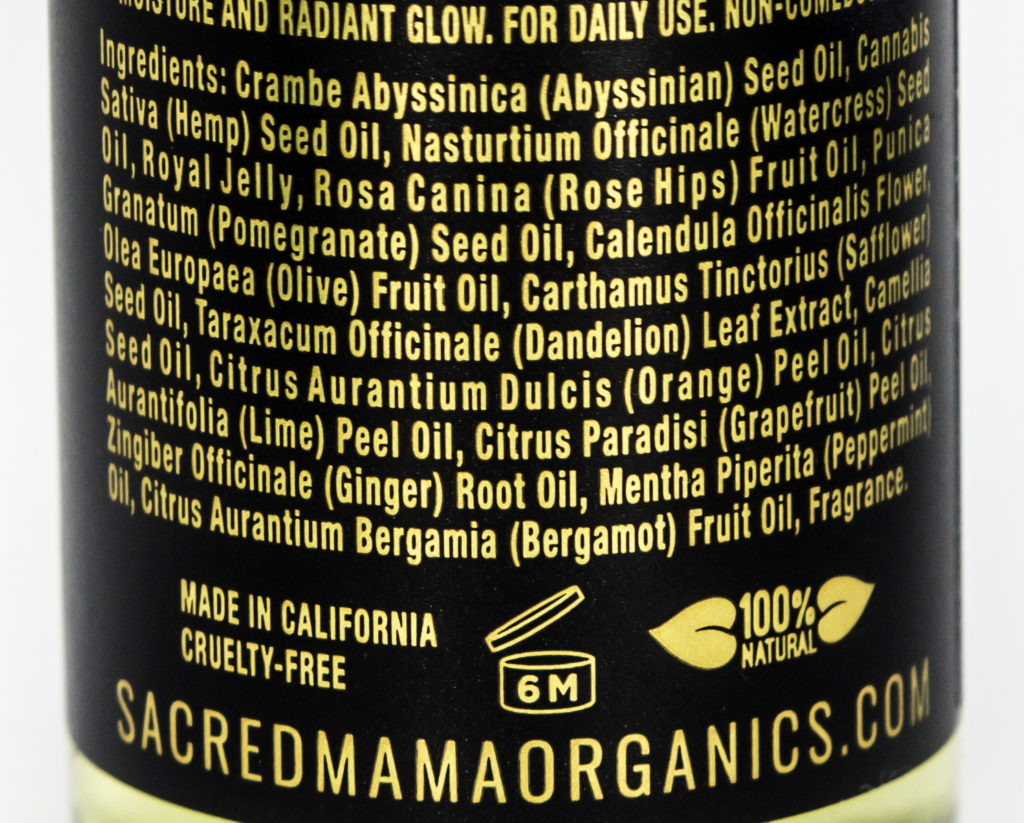 Sacred Mama Organics Ingredients