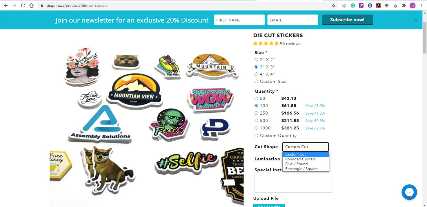 Sira.com: Choose size, quantity, cut shape, and lamination finish for your dye cut stickers. Add any special instructions