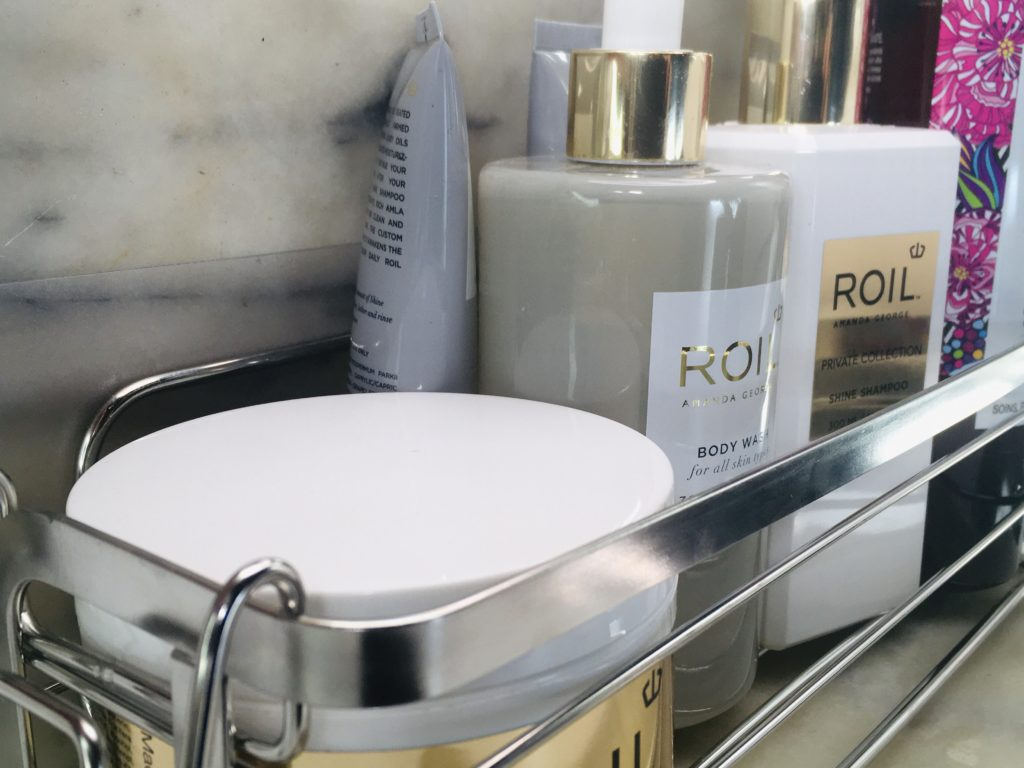 Luxear caddy fits many of my favorite hair care products from ROIL and Better Natured