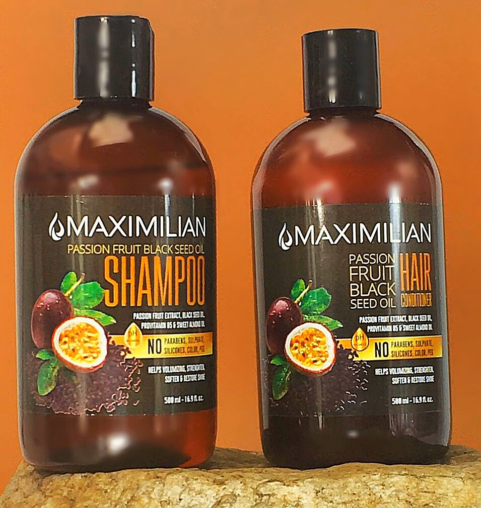 Maximilian Passion Fruit Black Seed Oil Curly Hair Shampoo and Conditioner Set