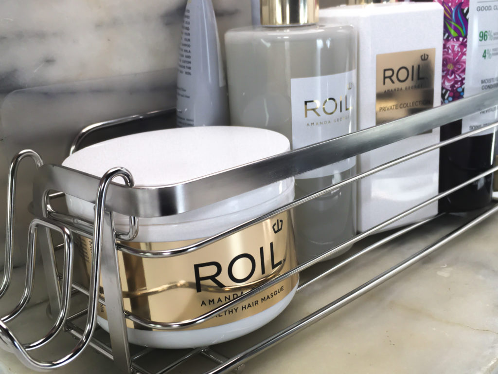 The caddy is also useful on a shelf, tub ledge, or on the vanity