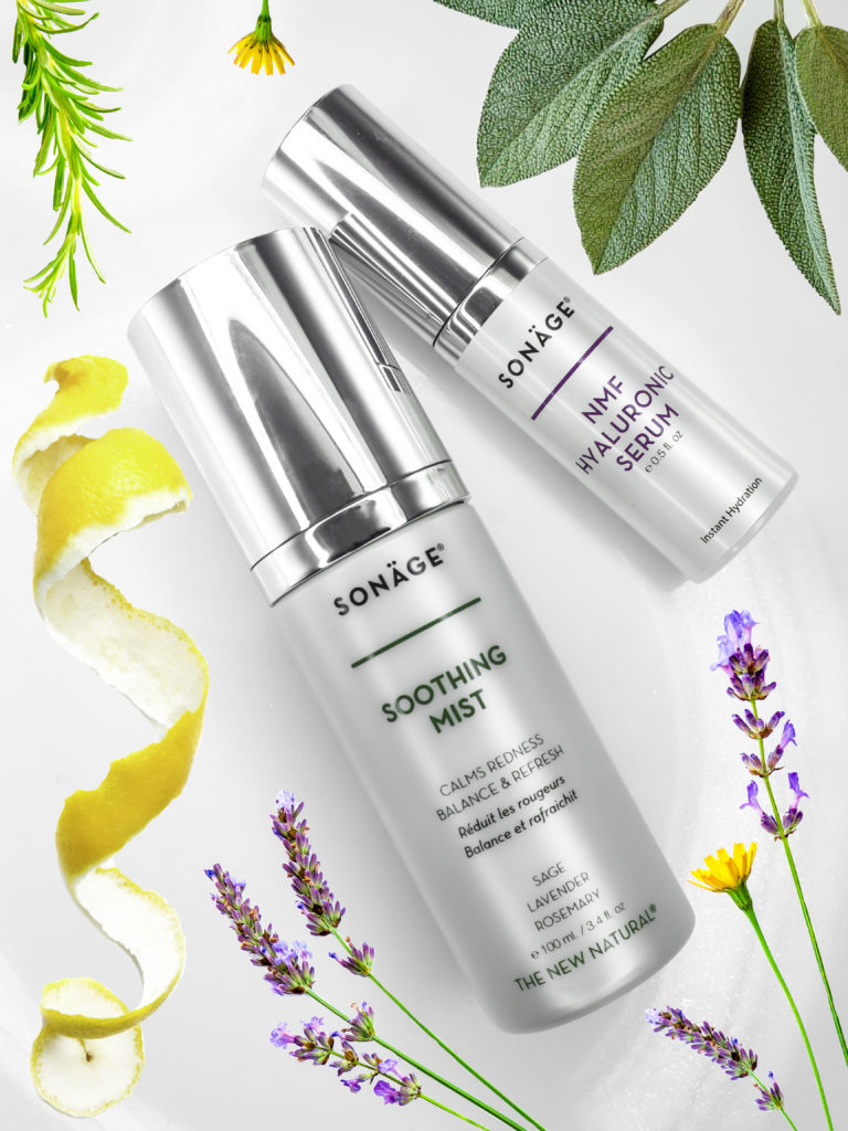 Sonäge Soothing Mist and NMF Hyaluronic Serum, packed with skin-friendly Botanicals