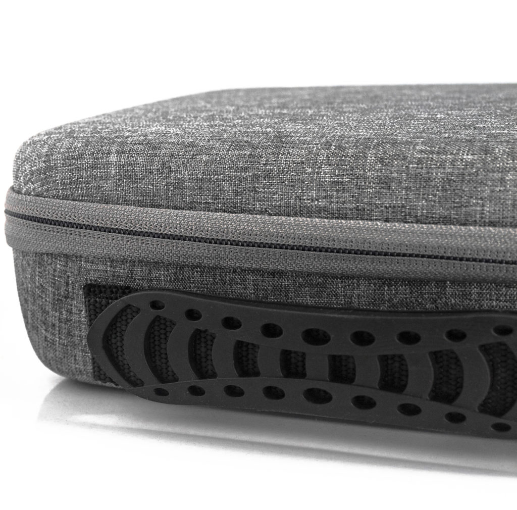 Slimline carrying case side view of easy grip handle