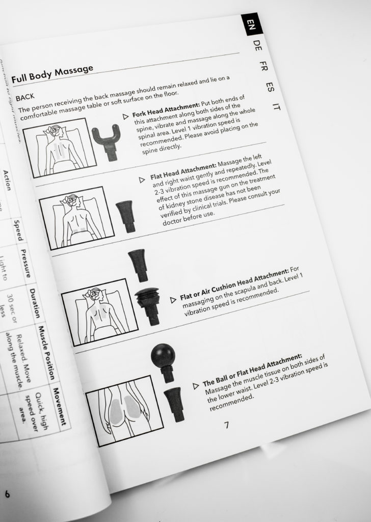 Detailed user guide explains which massage head to use on each body part