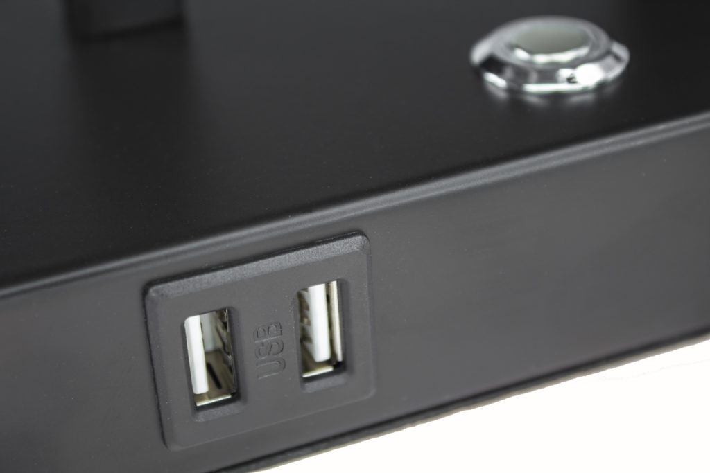 USB Port on the base charges two devices at once, even when the lamp is not on