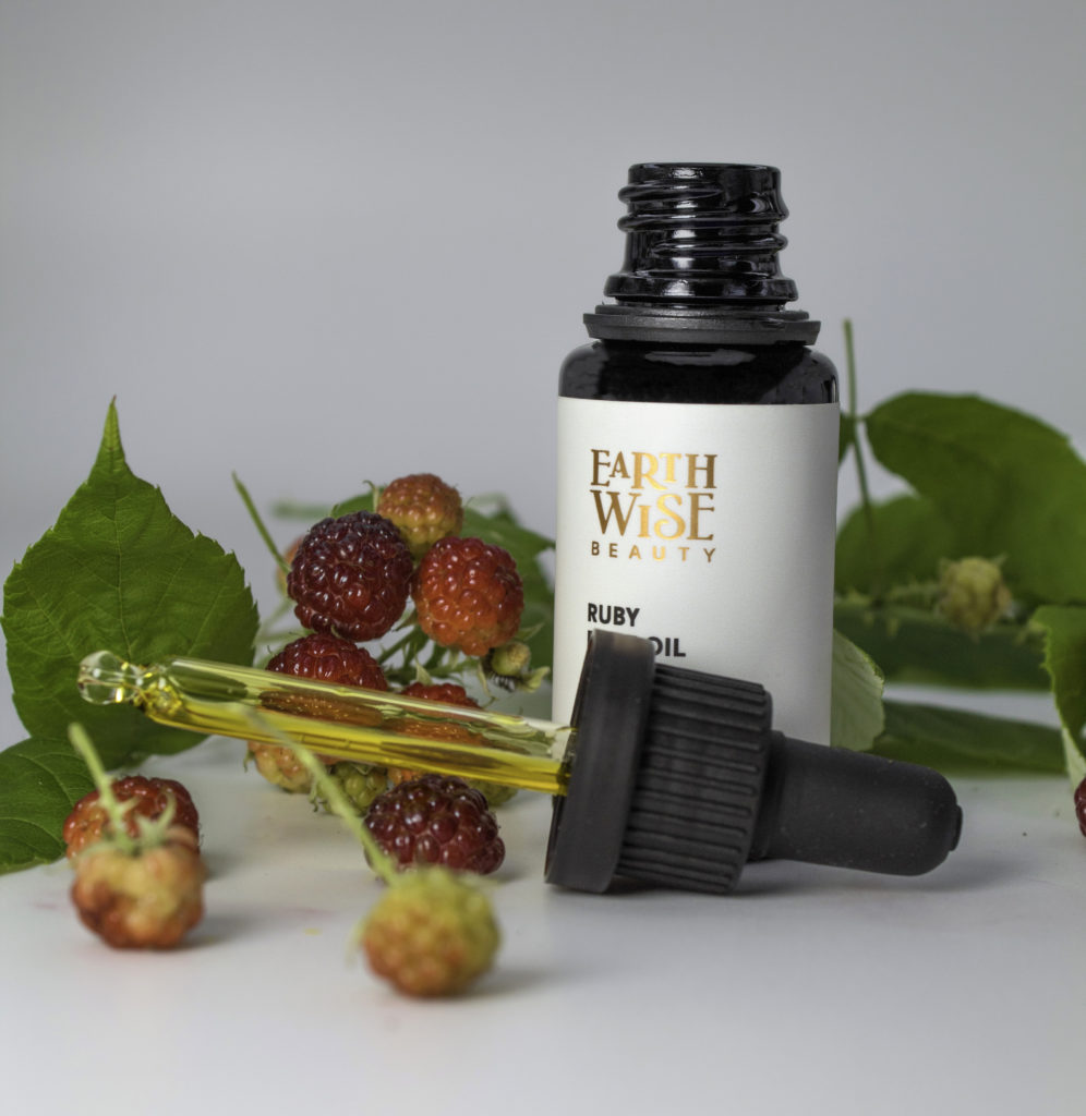 Ruby Face Oil is a lovely translucent warm gold. It dispenses from a precise bubble dropper.